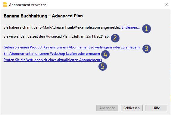 Aktivierung der Software Banana Buchhaltung+