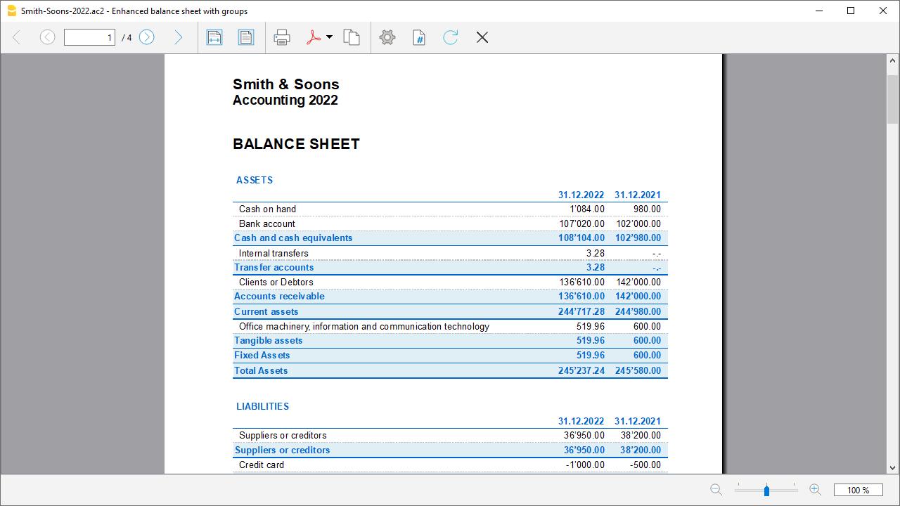 stampa bilancio abbellito con gruppi