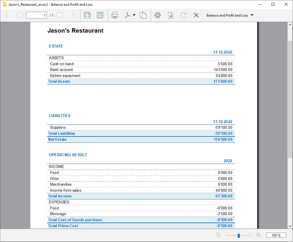 rapport formaté par groupes dépenses/recettes