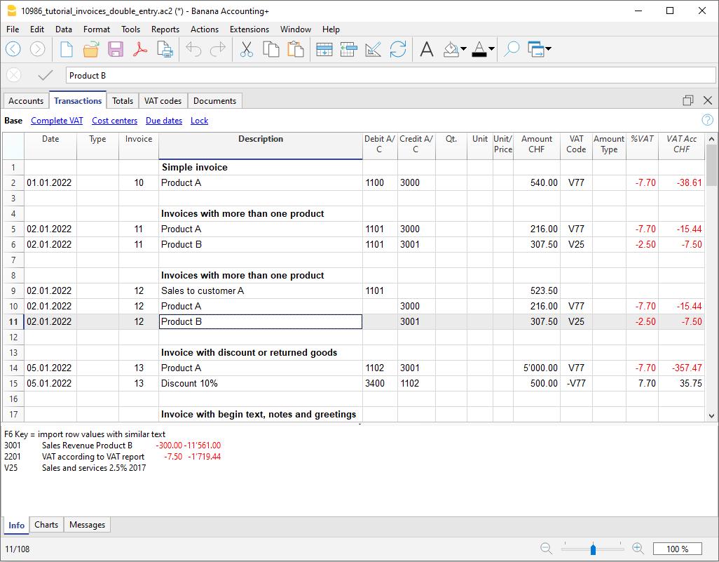 Fatturazione integrata, tabella Registrazioni