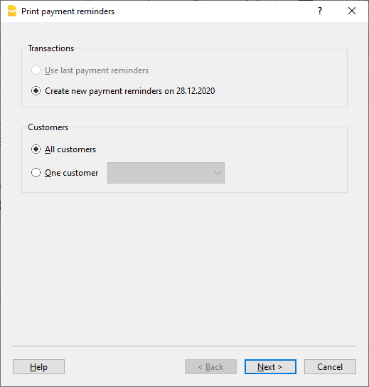 Integrated invoices, print payment reminders