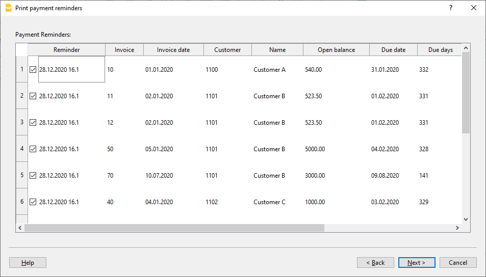 Integrated invoicing, create new payment reminders