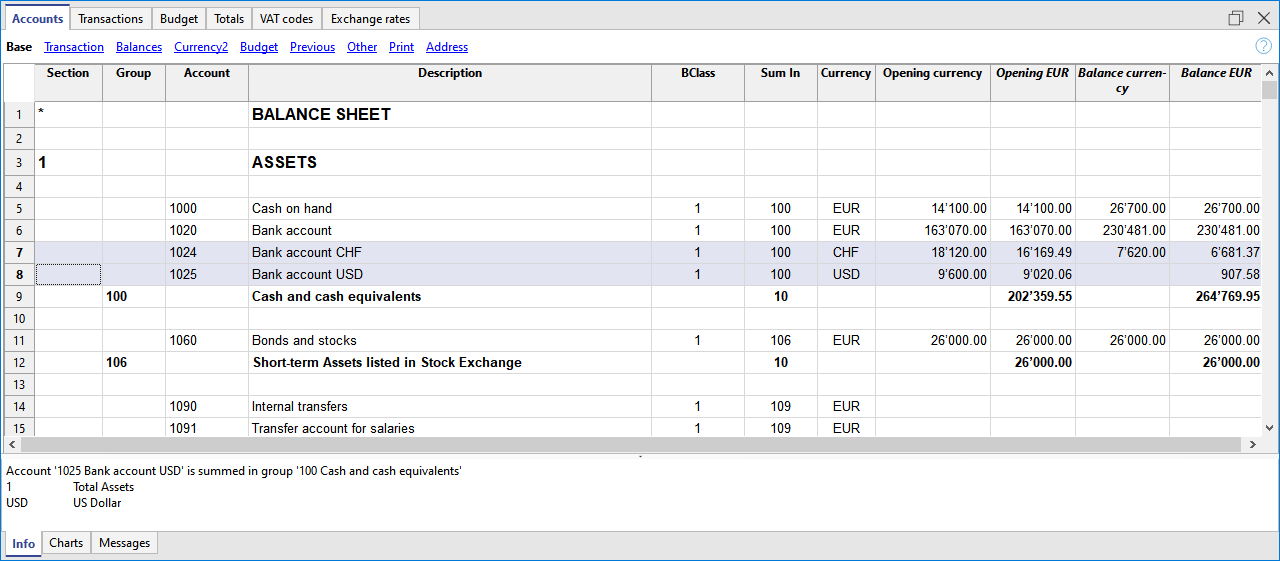 account table, multi currency accounting