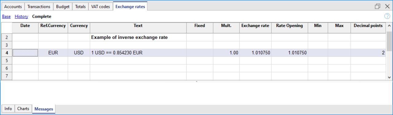 cambio inverso nella tabella Cambi
