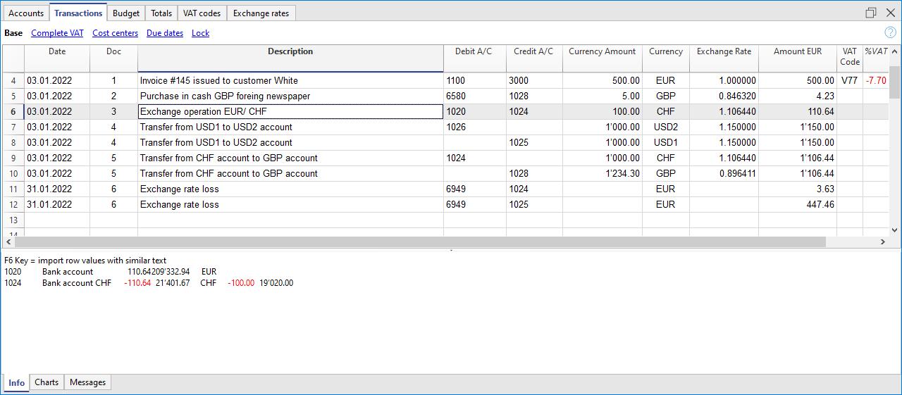 vari casi di registrazione nella contabilità multimoneta