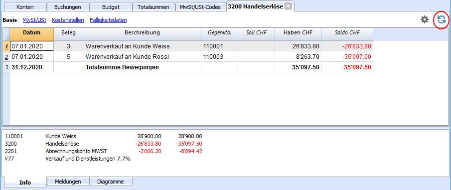 Buchhaltung Weisshaupt - Kontoauszug aktualisieren