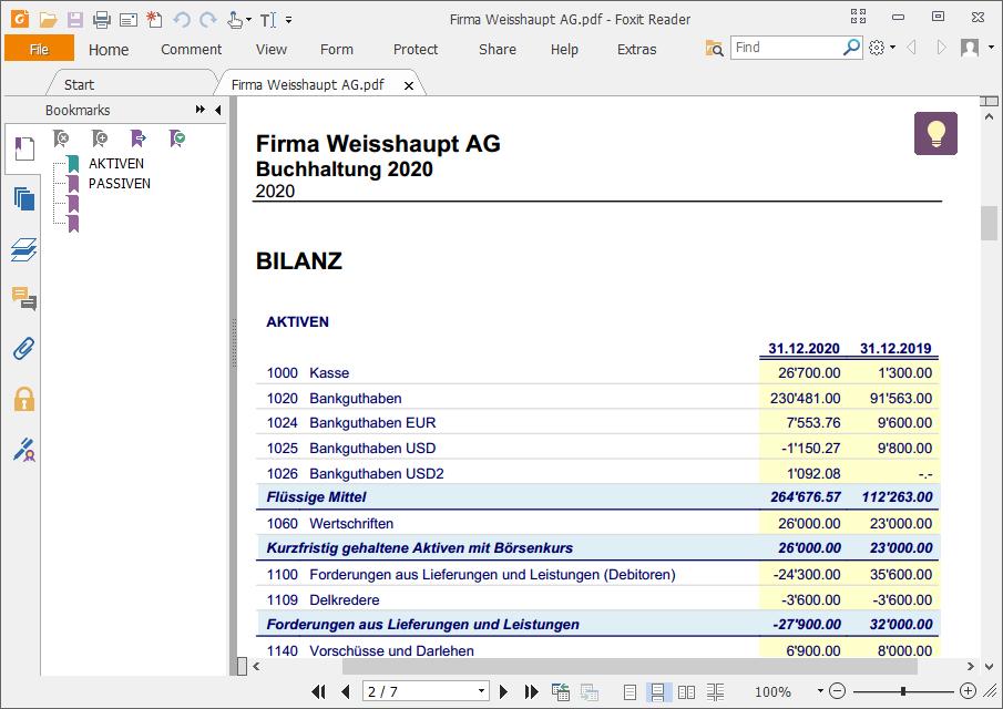 Formatierte Bilanz nach Gruppen PDF