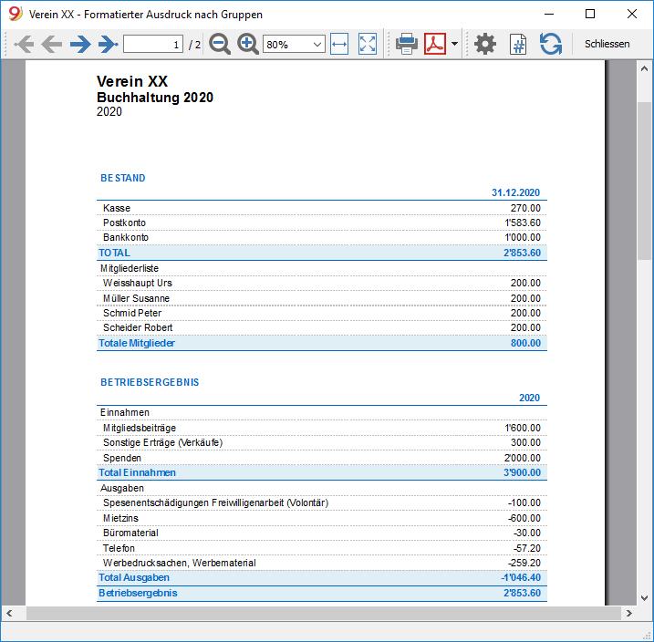 Formatierter Ausdruck der Einnahmen-Ausgaben-Rechnung