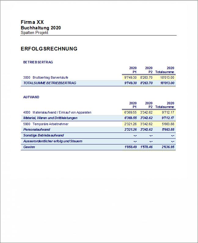Bilanzbericht mit Segmente und Projekte nach Ebenen
