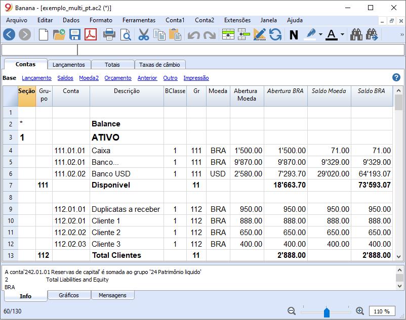 Tabela de Contas