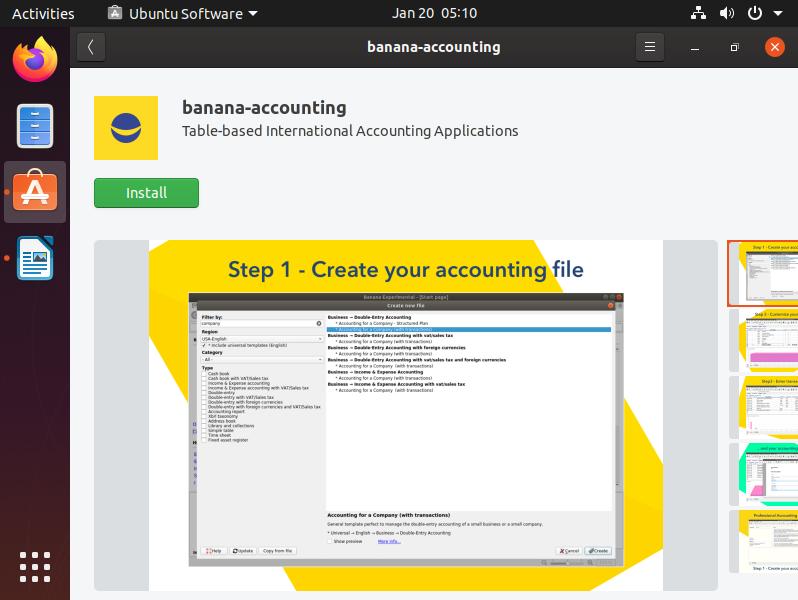 Banana Accounting on Ubuntu Store